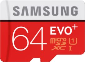 Samsung EVO+ 64GB micro SDXC Card 80MB/s + Adapter